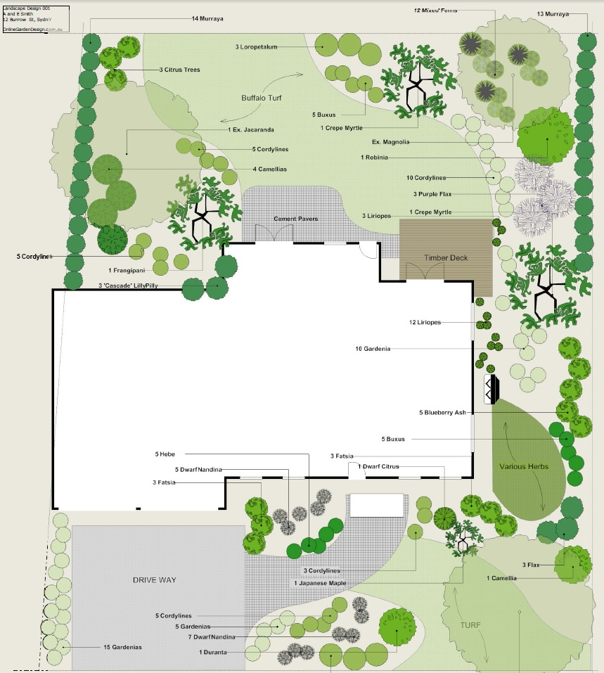 Landscape plan sample landscape plans and garden plans for Create a garden plan