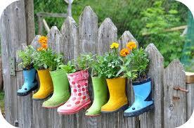 kids boots garden pots